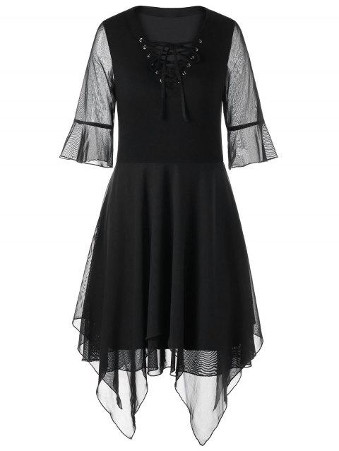 Bell Sleeve Lace Up Handkerchief Dress - BLACK L