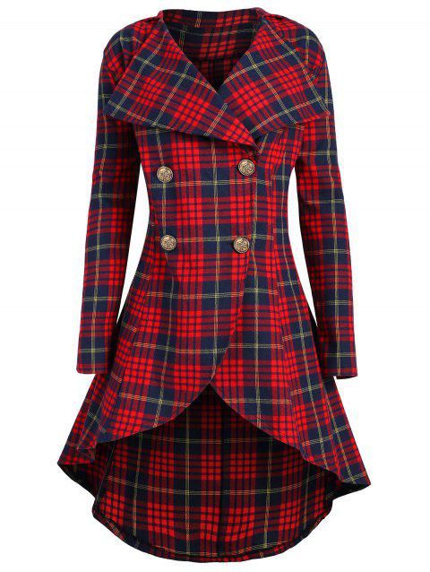 Double Breasted Plus Size Plaid Coat - CHECKED 4XL