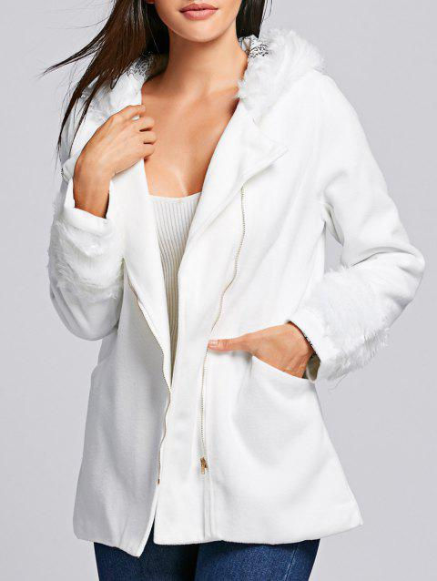 Chic Hooded Long Sleeve Zippered Loose-Fitting Women's Coat - WHITE ONE SIZE