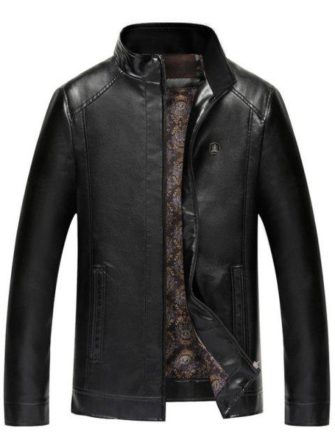 Badge Veste en cuir Faux Zip Up - Noir L