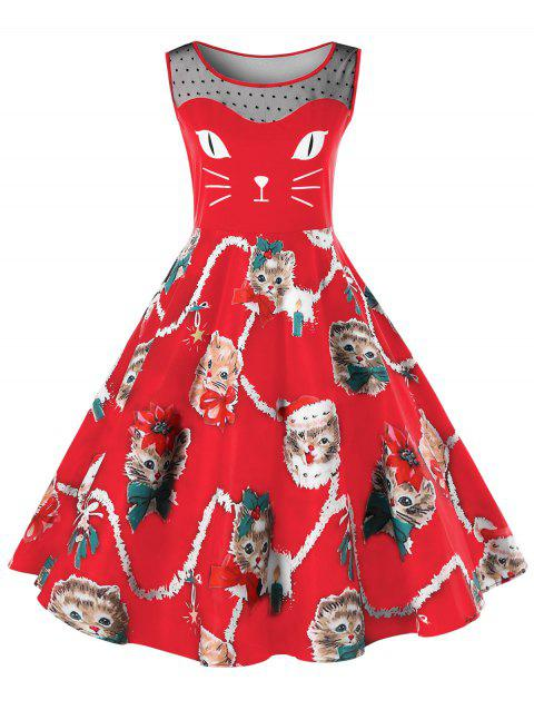 Christmas Plus Size Kitten Print Swing Dress - BRIGHT RED XL