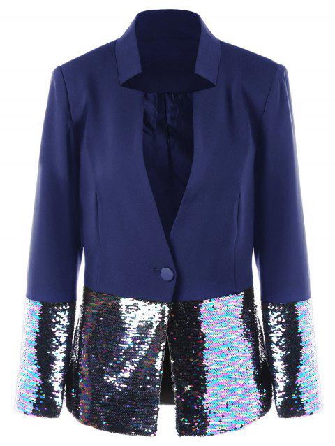 One Button Sequined Hem Blazer - BLUE M