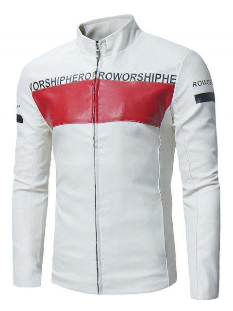 Graphic Color Block Zip Up PU Leather Jacket - WHITE 2XL