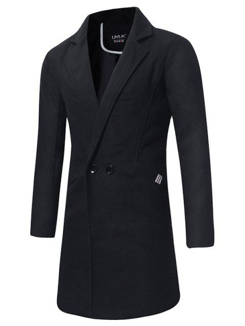 Longline Double Breasted Peacoat - BLACK 2XL