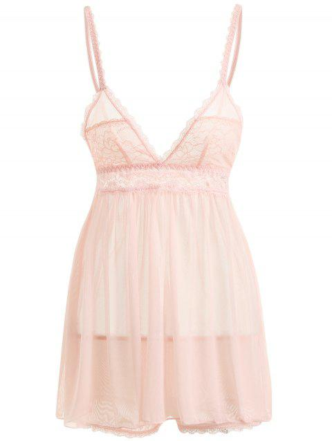 Sheer Mesh Slip Babydoll with Lace - LIGHT PINK S