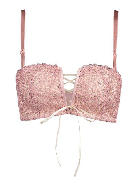 Padded Lace Bra with Lace-up Detail - LIGHT PINK 85A
