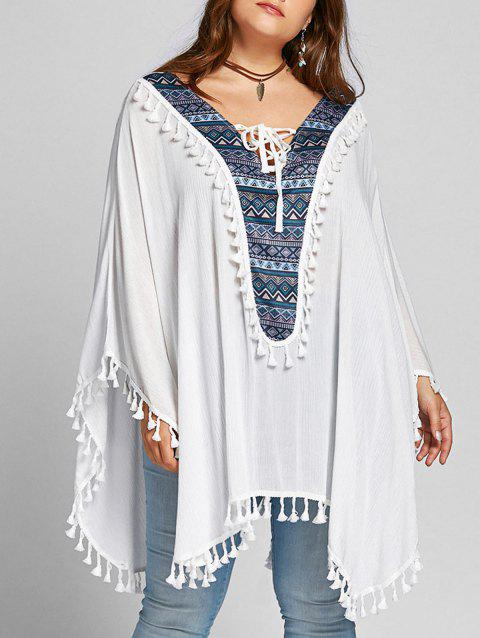 Lace Up Tassel Batwing Sleeve Plus Size Blouse - WHITE ONE SIZE