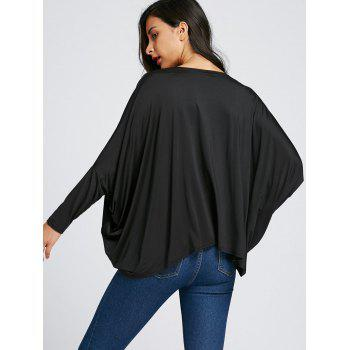 Twist Front Batwing Sleeve Midriff-baring Blouse - BLACK BLACK