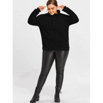 High Neck Plus Size Fleece Lined Lace Up Sweatshirt - BLACK BLACK
