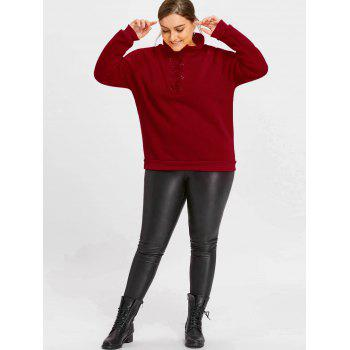 High Neck Plus Size Fleece Lined Lace Up Sweatshirt - DEEP RED 4XL