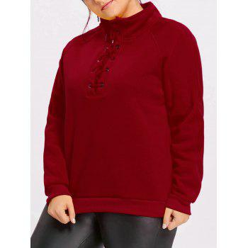 High Neck Plus Size Fleece Lined Lace Up Sweatshirt - DEEP RED DEEP RED