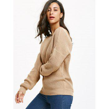 Drop Shoulder Criss Cross Backless Jumper Sweater - LIGHT CAMEL M