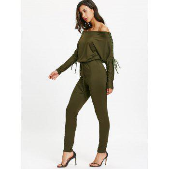 Off The Shoulder Lace Up High Waist Jumpsuit - ARMY GREEN S