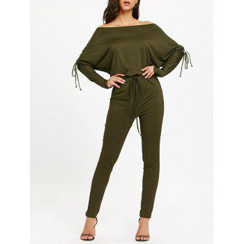 Off The Shoulder Lace Up High Waist Jumpsuit - ARMY GREEN ARMY GREEN