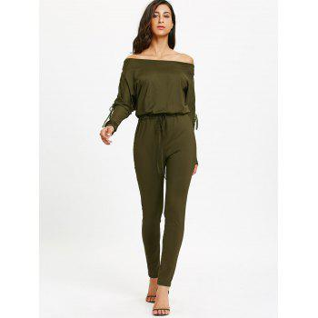 Off The Shoulder Lace Up High Waist Jumpsuit - ARMY GREEN L