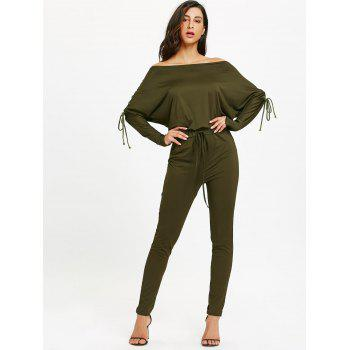 Off The Shoulder Lace-Up taille haute Jumpsuit - Vert Armée L