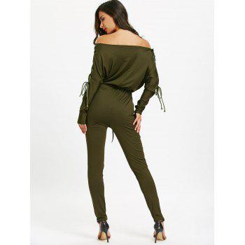 Off The Shoulder Lace Up High Waist Jumpsuit - ARMY GREEN XL