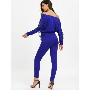 Off The Shoulder Lace Up High Waist Jumpsuit - BLUE XL