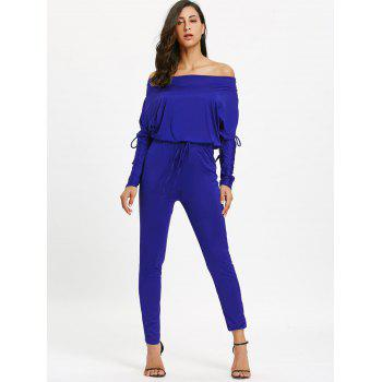 Off The Shoulder Lace Up High Waist Jumpsuit - BLUE L