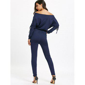 Off The Shoulder Lace Up High Waist Jumpsuit - DEEP BLUE XL
