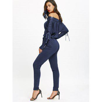 Off The Shoulder Lace Up High Waist Jumpsuit - DEEP BLUE L