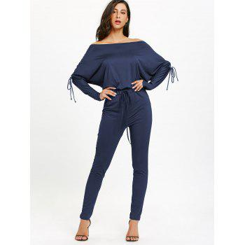 Off The Shoulder Lace Up High Waist Jumpsuit - DEEP BLUE DEEP BLUE