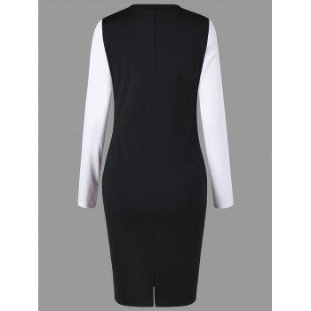 Two Tone V Neck Sheath Dress - WHITE/BLACK WHITE/BLACK