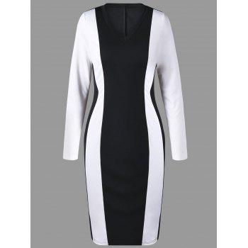 Two Tone V Neck Sheath Dress - WHITE AND BLACK WHITE/BLACK