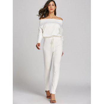 Off The Shoulder Lace-Up taille haute Jumpsuit - Blanc XL
