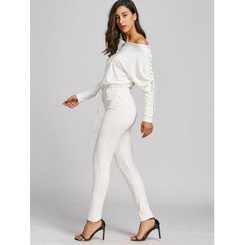 Off The Shoulder Lace Up High Waist Jumpsuit - WHITE L