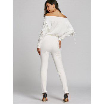 Off The Shoulder Lace Up High Waist Jumpsuit - WHITE WHITE