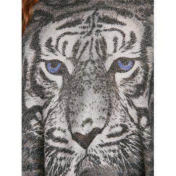 Plus Size Glitter Tiger Printed  Fringed Poncho Sweater - GRAY ONE SIZE