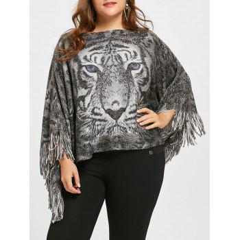 Plus Size Glitter Tiger Printed  Fringed Poncho Sweater - GRAY GRAY