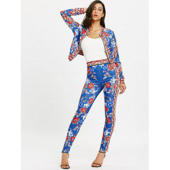 Flower Printed Zip Up Jacket and Pencil Pants - BLUE M