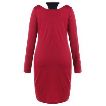 Lettre Imprimé Plus Size T-shirt Panel Dress - Rouge 5XL
