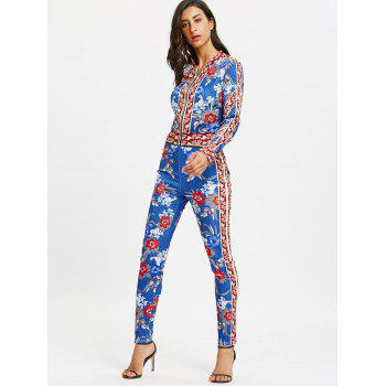 Flower Printed Zip Up Jacket and Pencil Pants - BLUE L