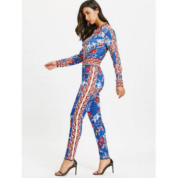 Flower Printed Zip Up Jacket and Pencil Pants - BLUE XL