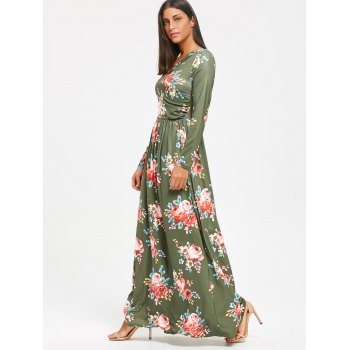 High Waist Floral Printed Long Sleeve Maxi Dress - PEA GREEN S