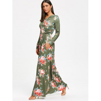 High Waist Floral Printed Long Sleeve Maxi Dress - PEA GREEN XL