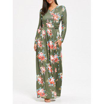 High Waist Floral Printed Long Sleeve Maxi Dress - PEA GREEN PEA GREEN