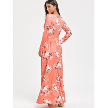 High Waist Floral Printed Long Sleeve Maxi Dress - ORANGEPINK ORANGEPINK