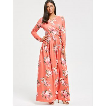 High Waist Floral Printed Long Sleeve Maxi Dress - ORANGEPINK M