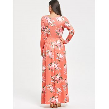 High Waist Floral Printed Long Sleeve Maxi Dress - ORANGEPINK S