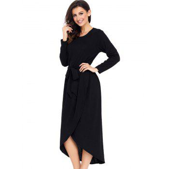 Long Sleeve Belted Tulip Dress - BLACK S