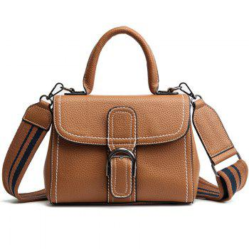 Buckle Strap Stitching PU Leather Handbag - BROWN BROWN