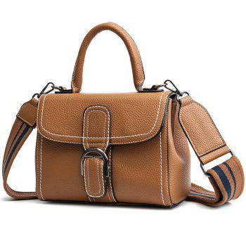 Buckle Strap Stitching PU Leather Handbag -  BROWN