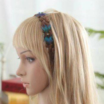 Decorative Peacock Feathers Braided Synthetic Wig Hair Band - WINE RED 20INCH