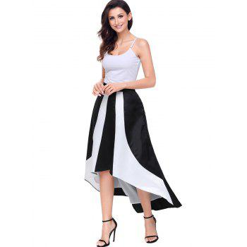 High Low Color Block Maix Skirt - BLACK M