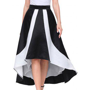 High Low Color Block Maix Skirt - BLACK BLACK