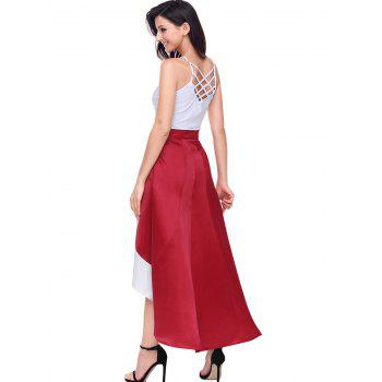 High Low Color Block Maix Skirt - RED 2XL